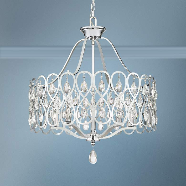 "Quoizel Lulu 22"" Wide Polished Chrome Crystal Pendant Light"