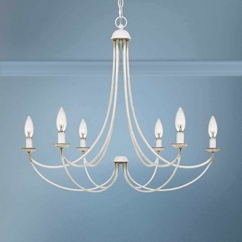 "Quoizel Mirren 28"" Wide Antique White 6-Light Chandelier"