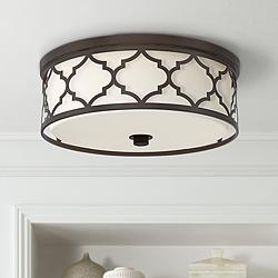 "Possini Euro Medley 16""W Bronze Cut Frame Ceiling Light"