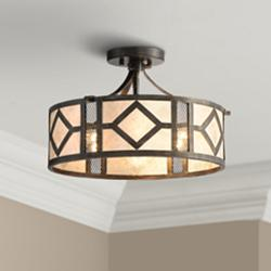"Marisol 15 1/2"" Wide Bronze and Mica Ceiling Light"