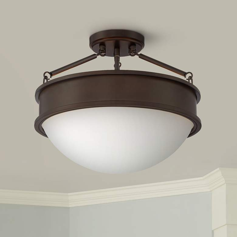 "Rory 16"" Wide Bronze and Opal Glass Bowl Ceiling Light"