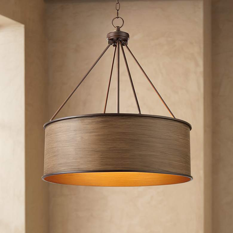 "Lorelai 24 3/4"" Bronze and Wood Finish Drum Pendant Light"