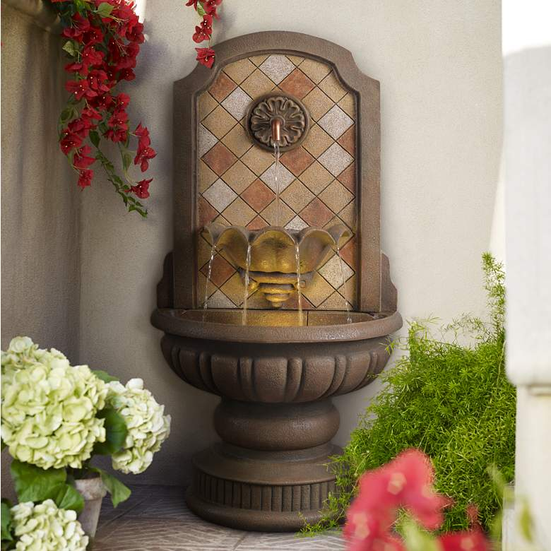 "Armando 42 3/4"" High Mosaic Patio Wall Fountain"