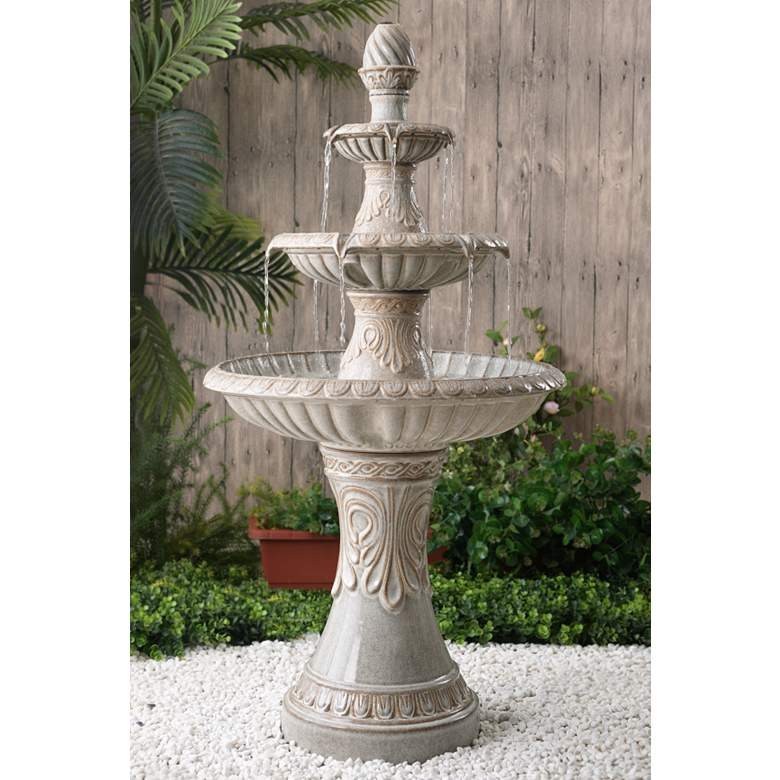 "Kiera 46 1/2"" High Ivory 3-Tier Tradtional Ceramic"
