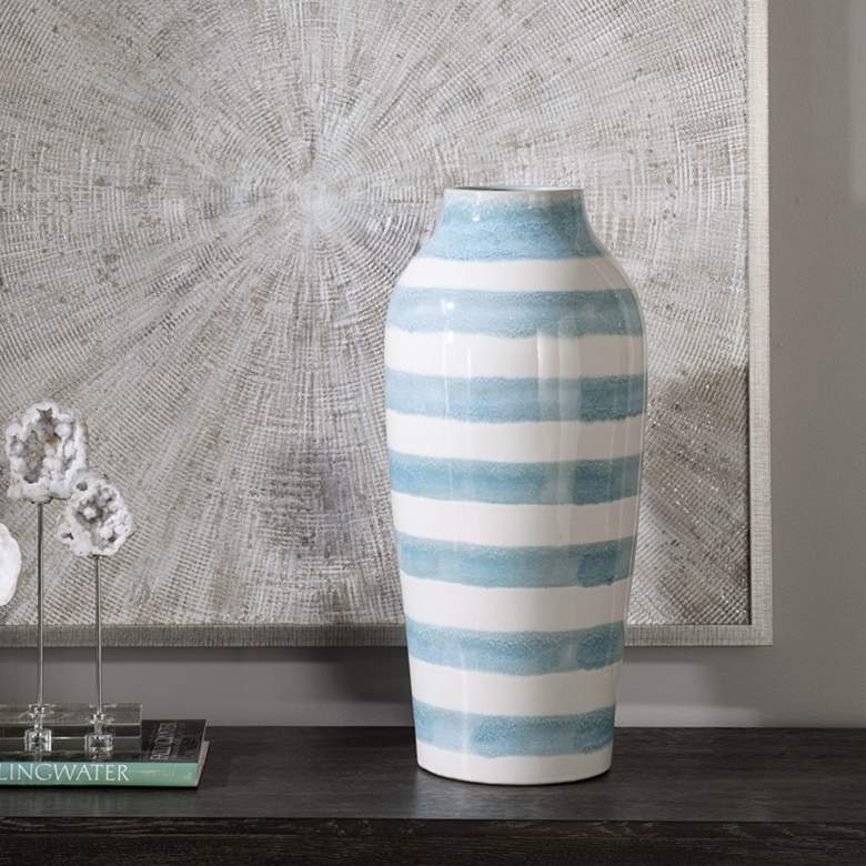 "Ortun 25 1/2"" High Blue and White Earthenware Vase"