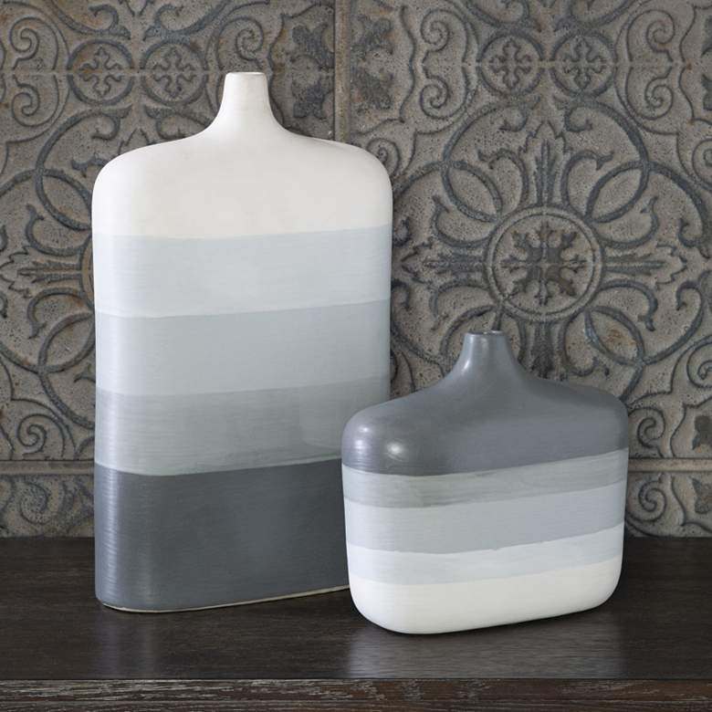 Uttermost Guevara Gray and White Earthenware Vases Set