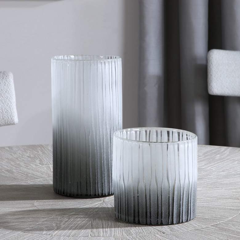 Uttermost Como White and Dark Gray Glass Vases Set of 2