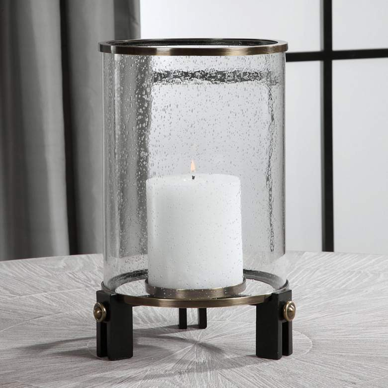 "Faraday 14 1/4"" Seeded Glass Cylinder Pillar Candle"
