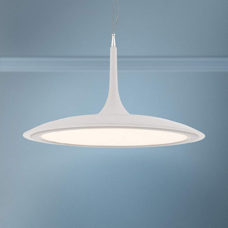 "George Kovacs Hover 19"" Wide Matte White LED Pendant Light"
