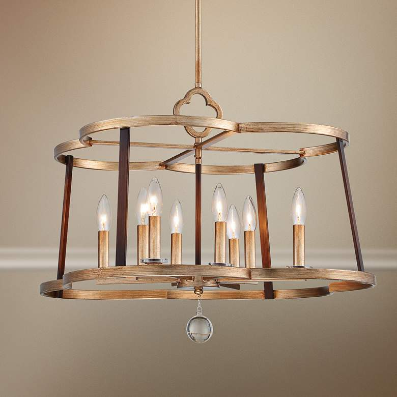 "Ava Libertine 26""W Gold and Bronze 8-Light Foyer Chandelier"