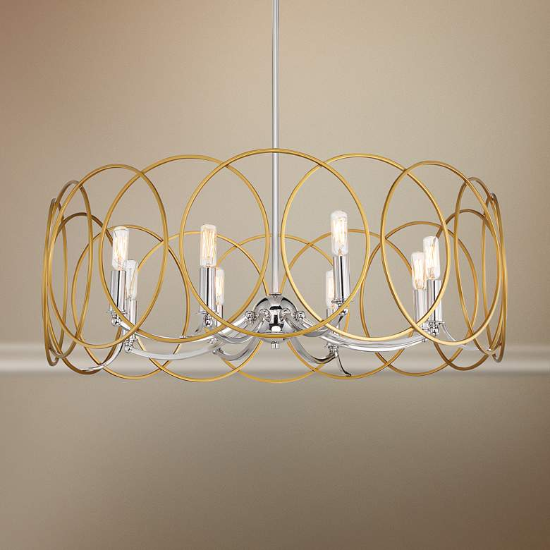 "Chassell 31 1/2""W Honey Gold and Nickel 8-Light"