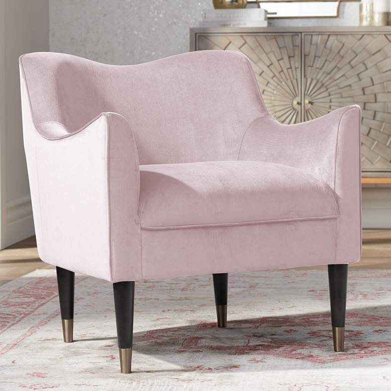 Bow Blush Sky Velvet Fabric Armchair