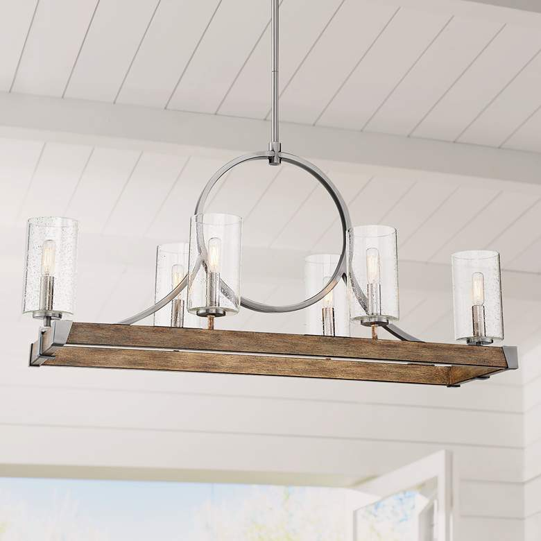 "Country Estates 38 3/4"" Wood Kitchen Island Light Chandelier"