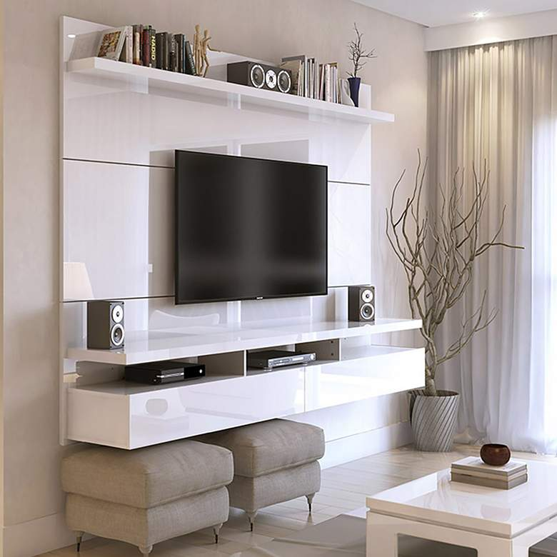 "City 63""W White Glossy Wood Floating Entertainment Center"
