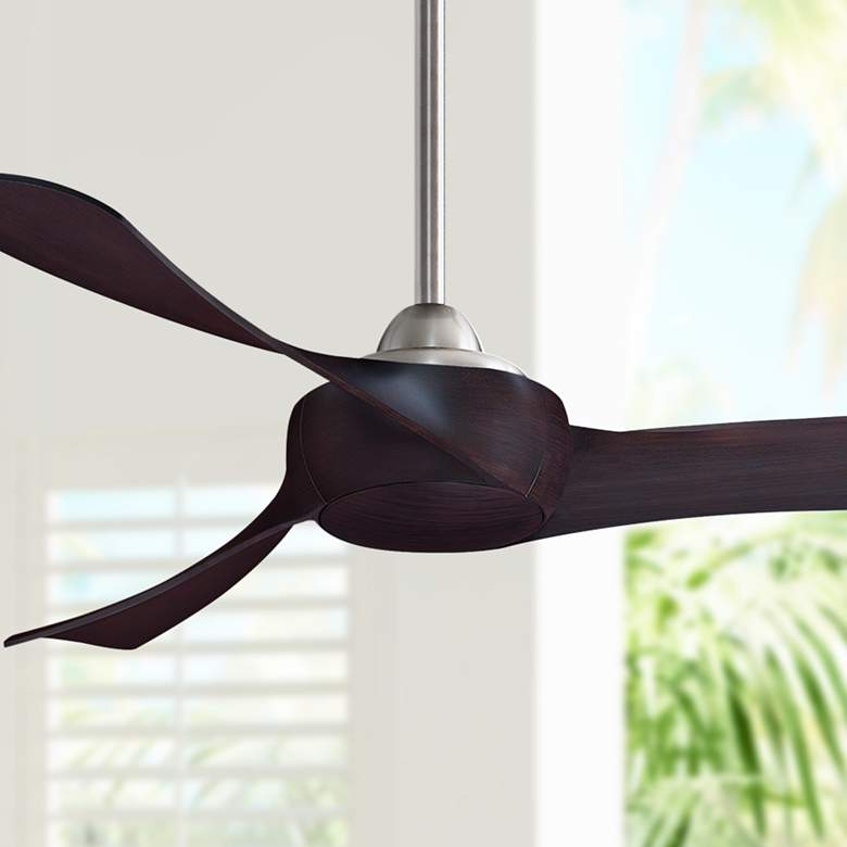 "52"" Fanimation Wrap Brushed Nickel Damp Ceiling Fan"