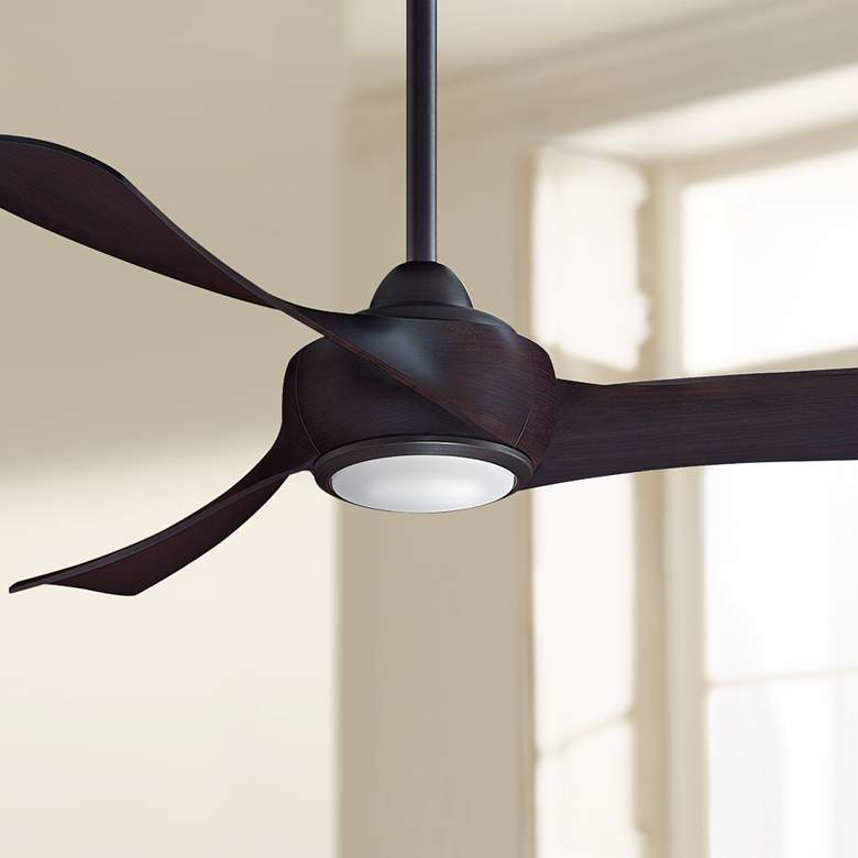 "52"" Fanimation Wrap Dark Bronze LED Damp Ceiling Fan"