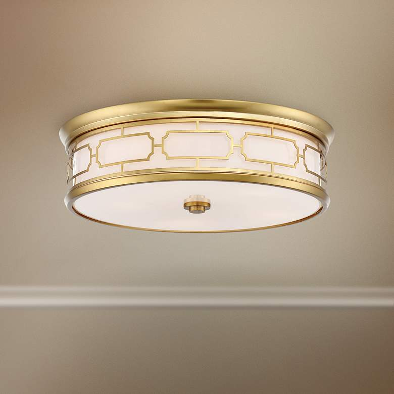 "Flush Mount 20"" Wide Liberty Gold Drum LED"
