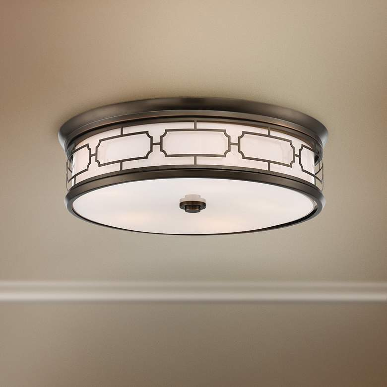 "Flush Mount 20""W Harvard Court Bronze Drum LED"