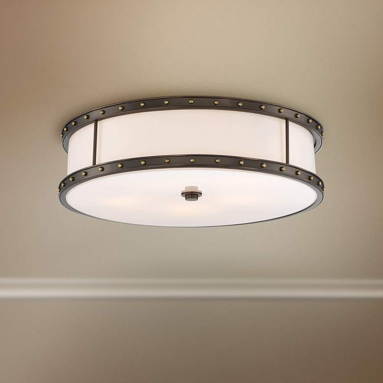 "Flush Mount 20 1/4""W Harvard Court Bronze LED"