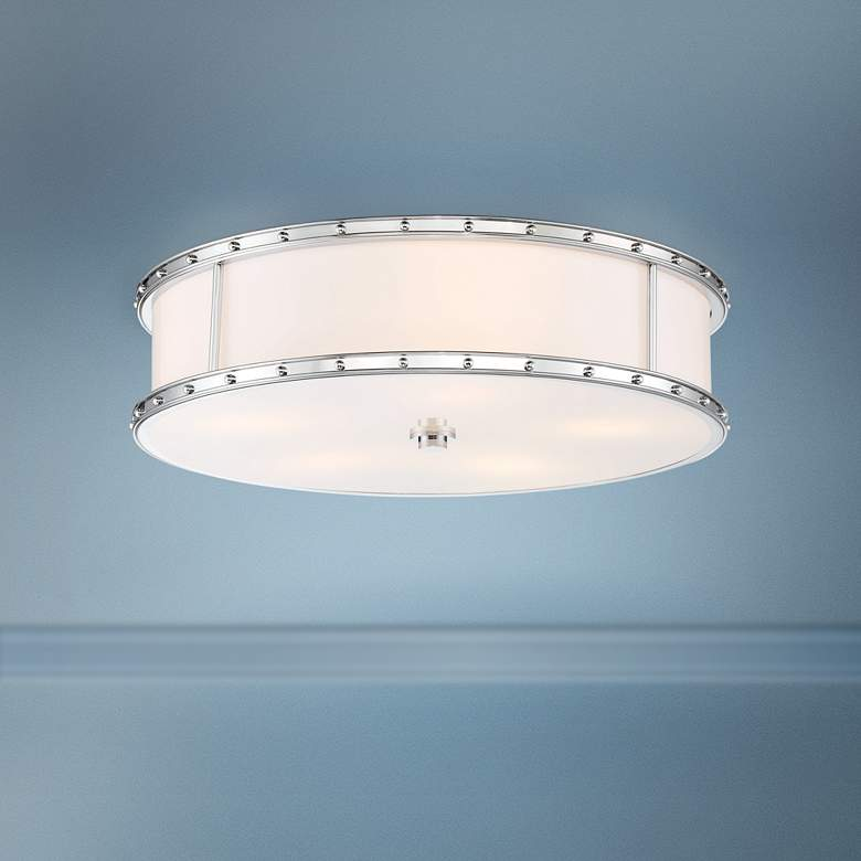 "Flush Mount 20 1/4"" Wide Chrome Drum LED"