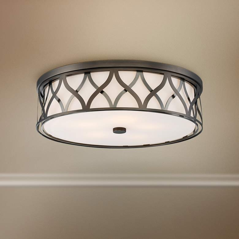 "Flush Mount 20"" Wide Bronze 2-Cage LED Ceiling"