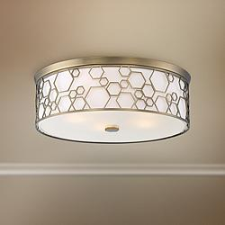 "Flush Mount 20""W Polished Satin Brass Drum LED Ceiling Light"