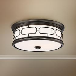 "Flush Mount 16""W Harvard Court Bronze Drum LED Ceiling Light"