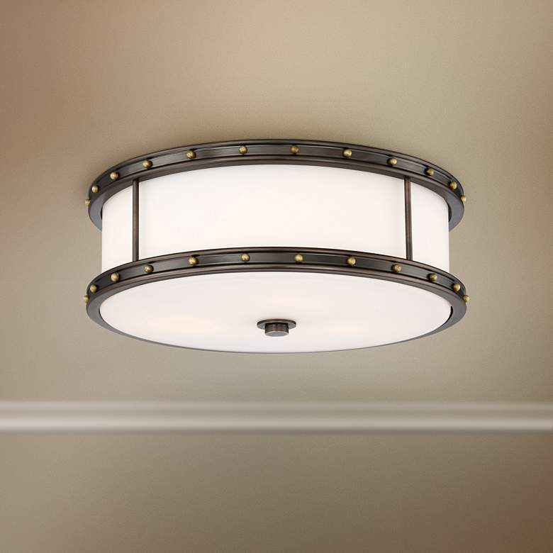 "Flush Mount 15 1/2""W Harvard Court Bronze LED"