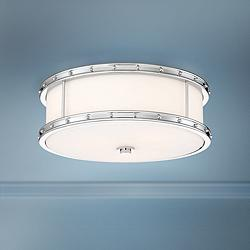 "Flush Mount 15 1/2"" Wide Chrome Drum LED Ceiling Light"