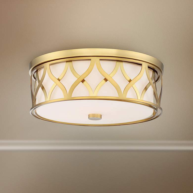"Flush Mount 16"" Wide Liberty Gold 2-Cage LED"