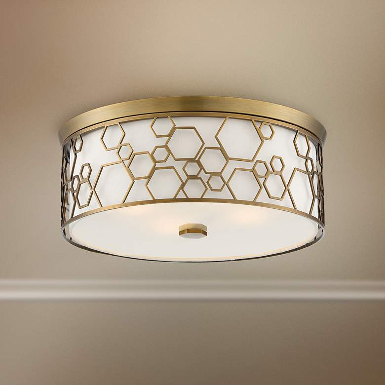 "Flush Mount 17""W Polished Satin Brass Drum LED Ceiling Light"
