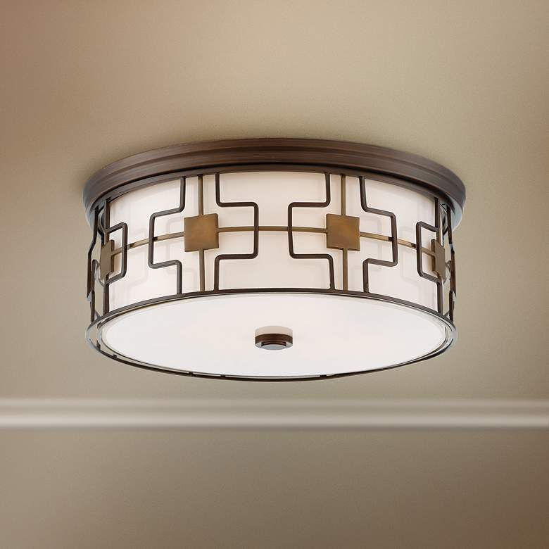 "Flush Mount 16""W Dark Brushed Bronze Drum LED"