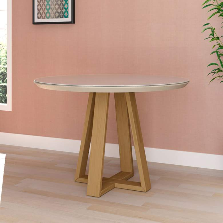 "Duffy 45 1/4"" Wide Off-White Round Wood Dining"