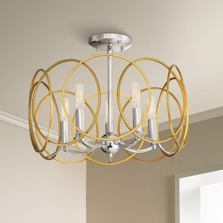 "Chassell 18 1/4""W Gold and Nickel Convertible Ceiling"