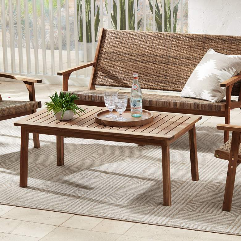 "Perry 43 1/4"" Wide Wood Outdoor Coffee Table"