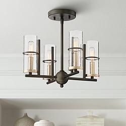 "Sussex Court 14 1/2"" Wide Smoked Iron 4-Light Ceiling Light"