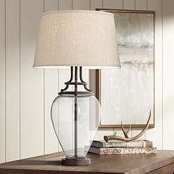 Possini Euro Anne Oil-Rubbed Bronze and Glass Table Lamp