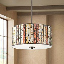 "Welles 16 1/2"" Wide Bronze Tiffany Glass Drum Pendant Light"