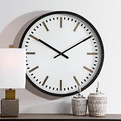 "Uttermost Fleming 31 3/4"" Black and White Modern Wall Clock"