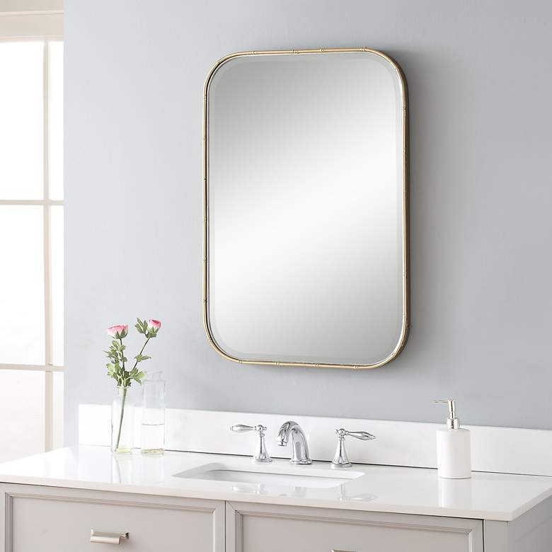 Uttermost Malay Gold Bamboo 20 1 4 X 30 Vanity Wall Mirror 78p81 Lamps Plus