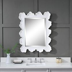 "Sea Coral Matte White 27 1/4"" x 34 1/4"" Vanity Wall Mirror"