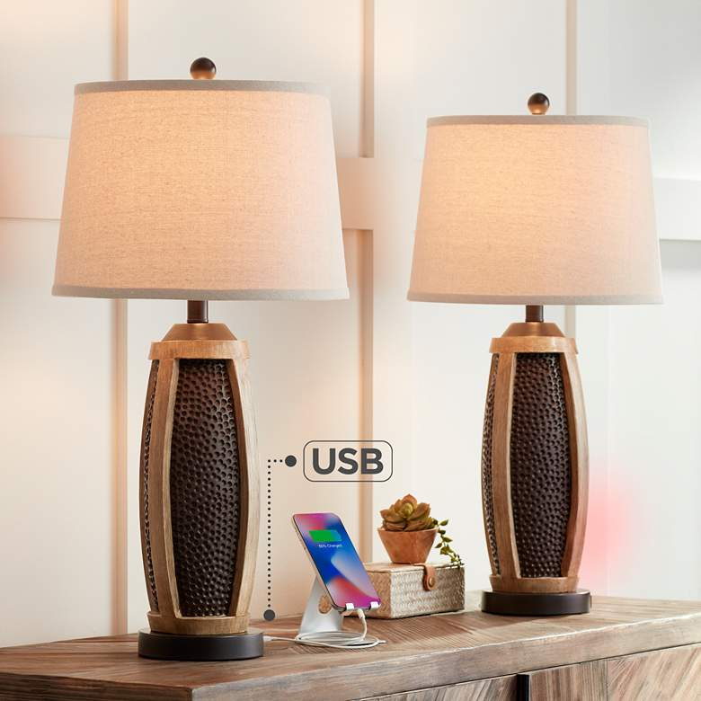 Parker Hammered Bronze USB Table Lamps Set of 2