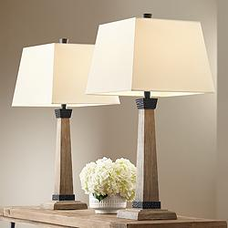 Buchan Wood Pedestal Table Lamps Set of 2