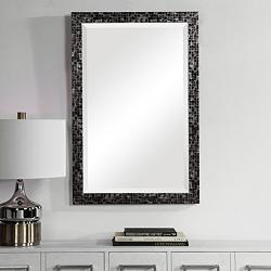 "Graphique Black w/ Gray 23 3/4"" x 35 3/4"" Vanity Wall Mirror"