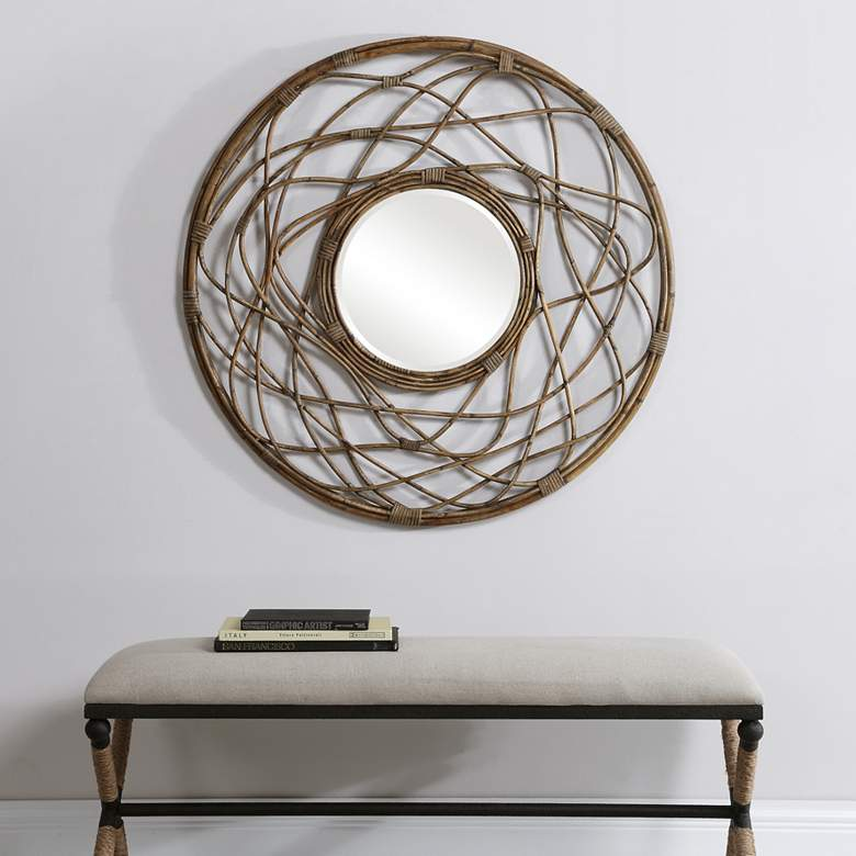 "Samudra Natural Rattan 40 1/4"" Round Oversized Wall"