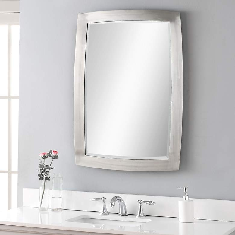 "Haskill Brushed Nickel 24"" x 34 1/4"" Vanity Wall Mirror"