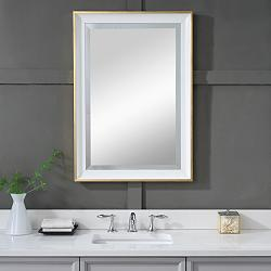 "Gema Gold Leaf and White 24"" x 34"" Vanity Wall Mirror"