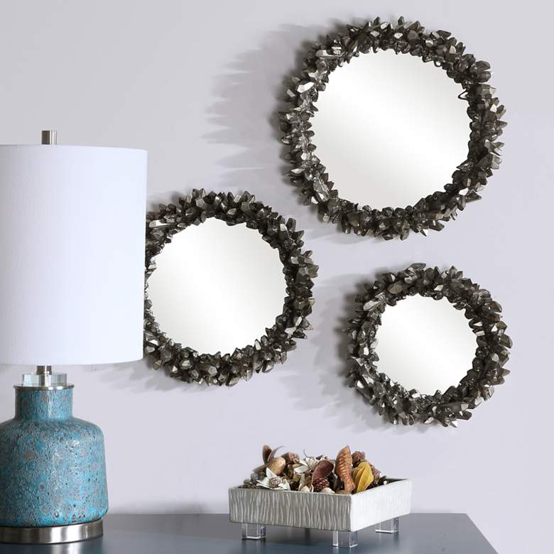 Uttermost Galena Antique Silver Round Wall Mirrors Set