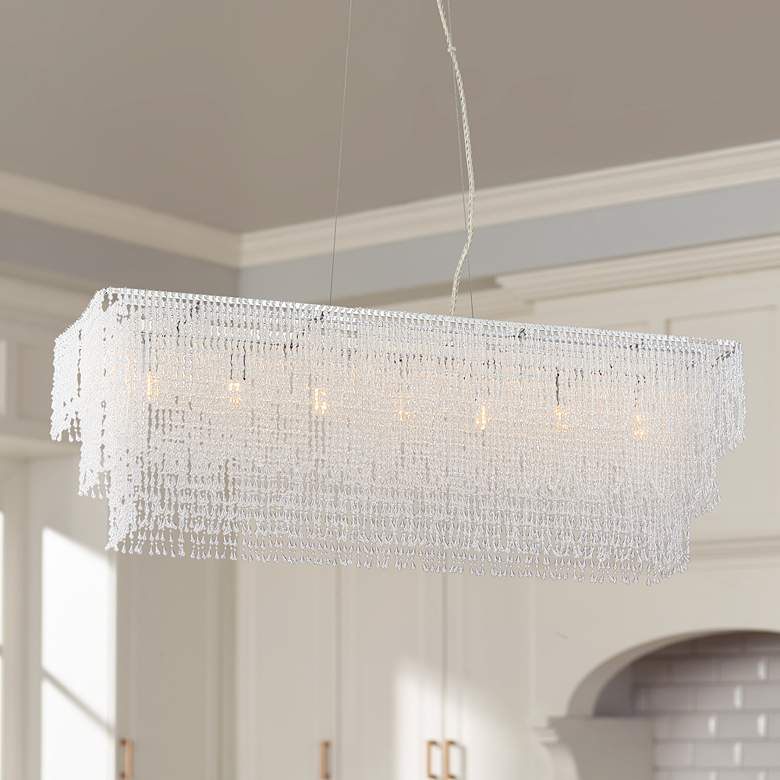 "Jessa 33 1/2""W Crystal Beaded Kitchen Island Light"