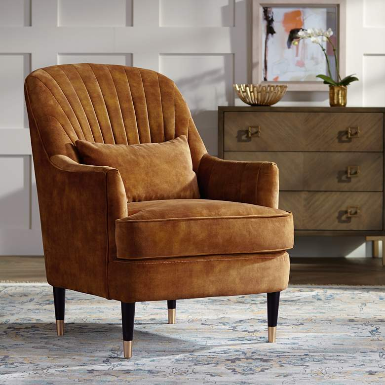 Austen Caramel Velvet Tufted Armchair with Pillow